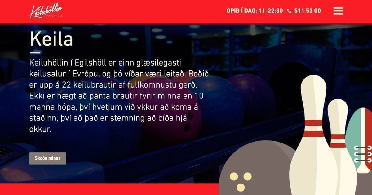 Keiluhöllin - Information about the bowling hall on the website