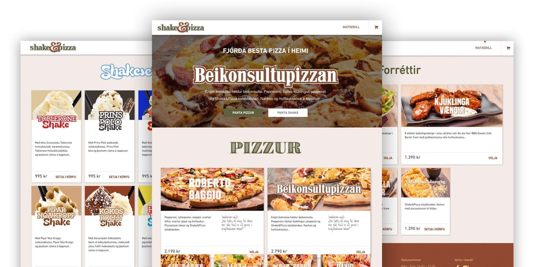 A mood board of Shake & Pizza website
