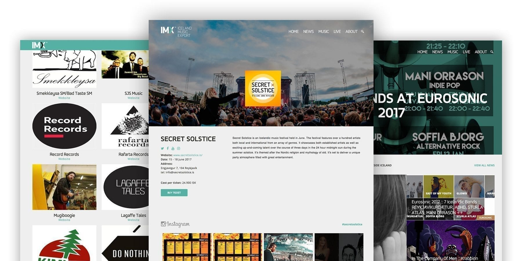 A mood board of Icelandic music export website